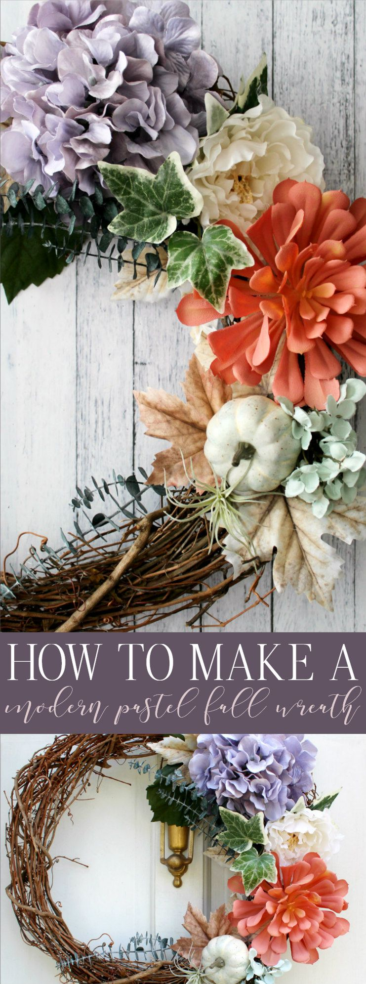 How to Make a Modern Pastel Fall Wreath | Fall wreath ...