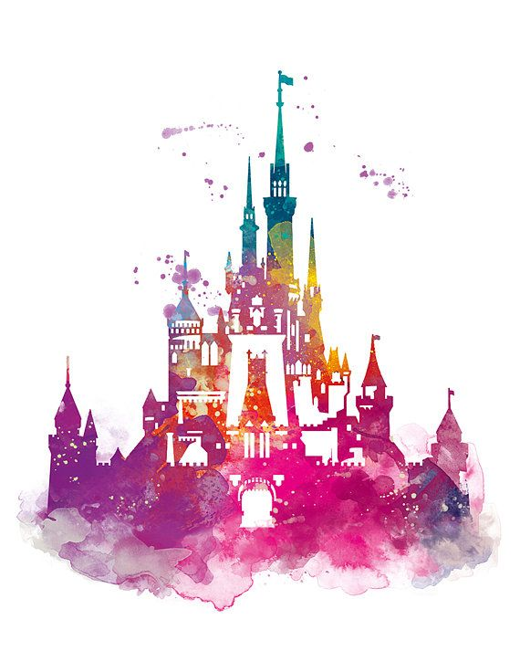 Cinderella Castle Watercolor Print Magic Kingdom By Monnprint