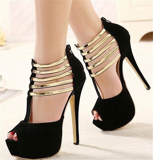 882c9d4c893 Roman Women High Heel Peep Toe Platform Zip Strap Sandals Faux Suede Dress  Shoes