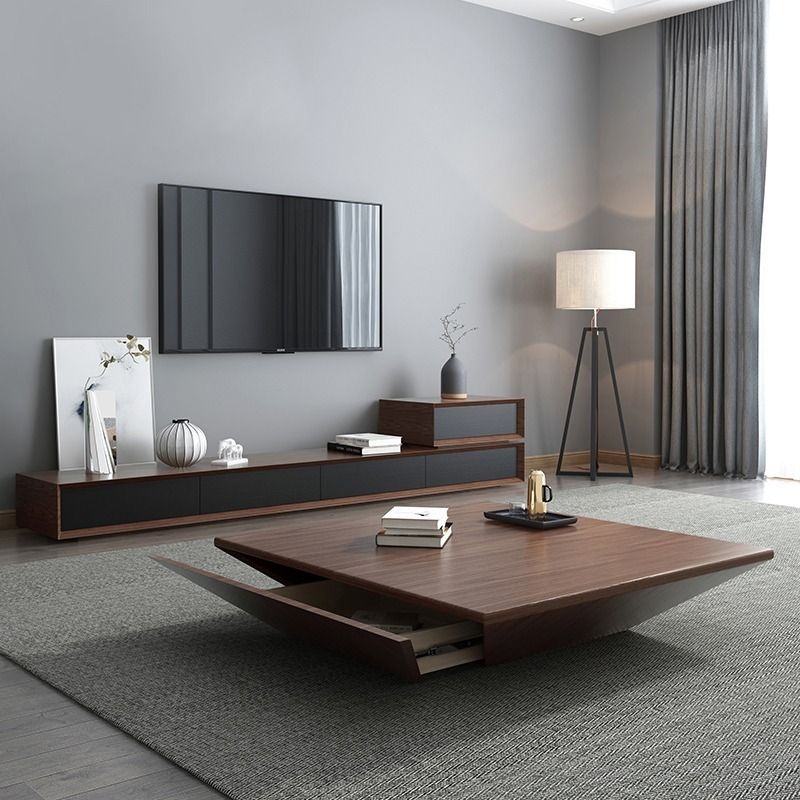 Nordic Style Big Square Solid Wood Walnut Tea Coffee Table High Gloss Big Round Wood Centre Table Living Room Center Table Living Room Modern Wood Coffee Table