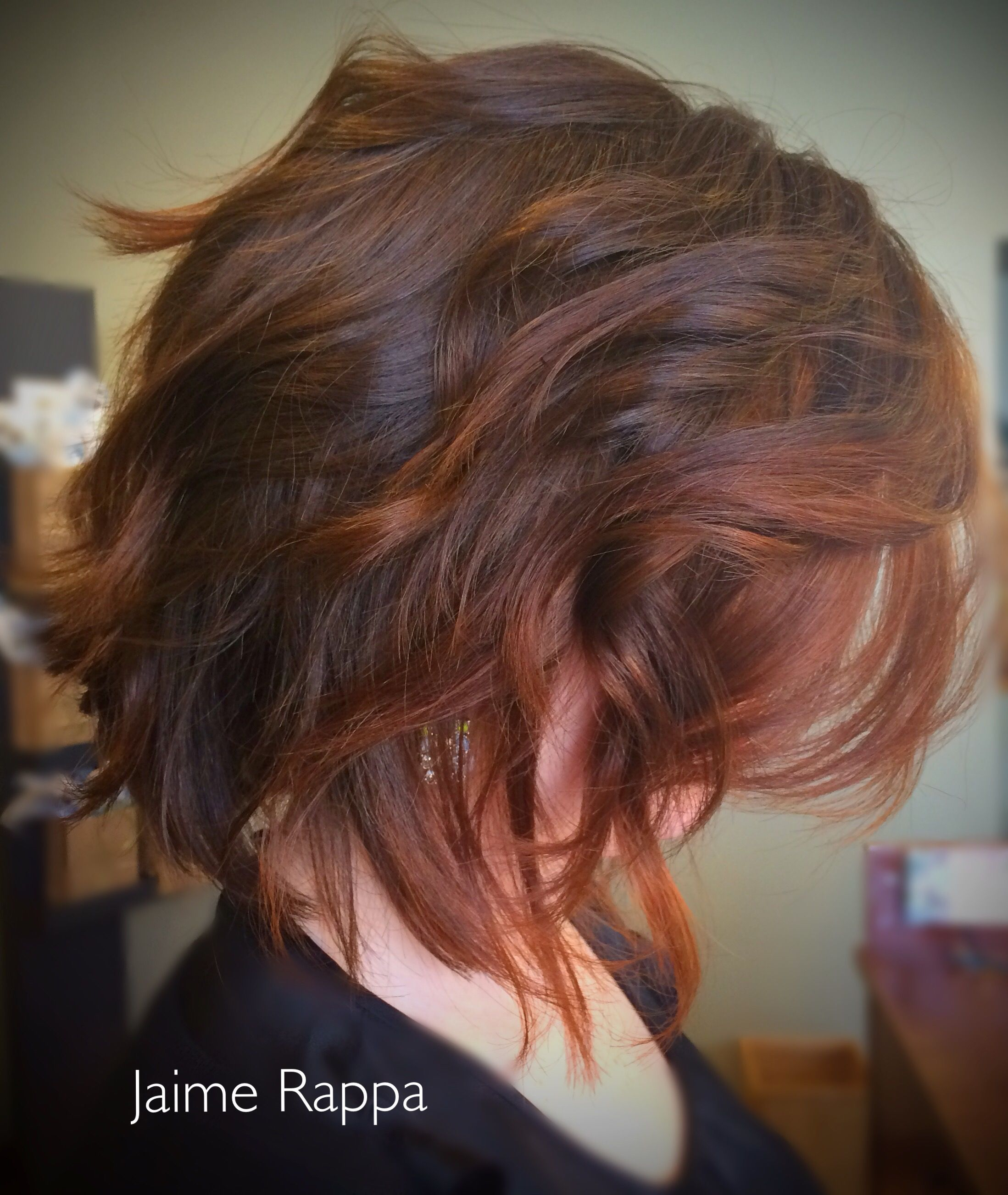 Loved Doing This Angled Layered Bob Haircut On Thick Wavy Red Hair Hair Color Experts Color Correction Hair Hair