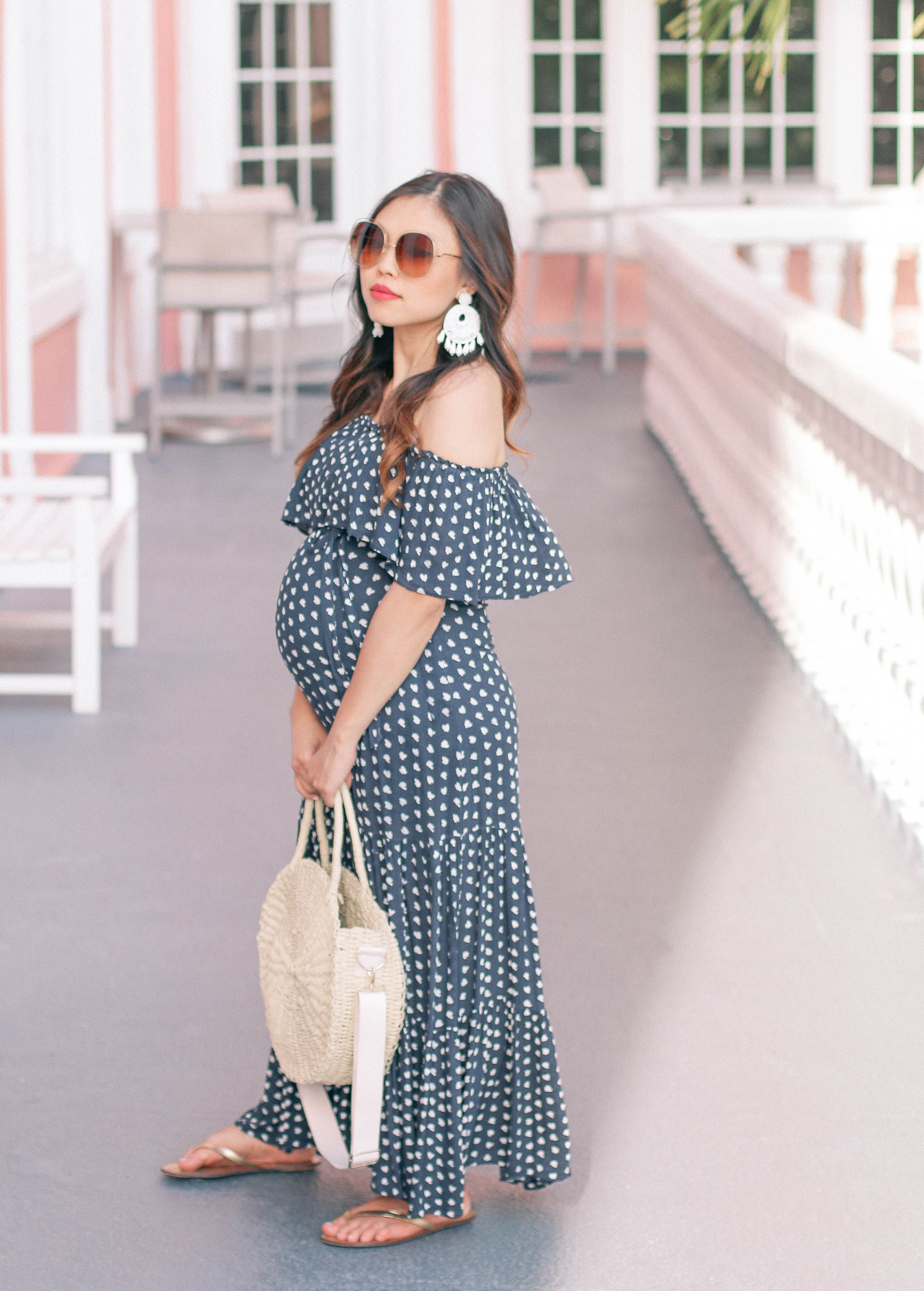 304aa033e4ea4 bump friendly maxi dress - #babymoonoutfitideas #beadedtasselearrings  #chloe #chloesunglasses #circlestrawbag #maternitystyle  #offtheshoulderdress ...