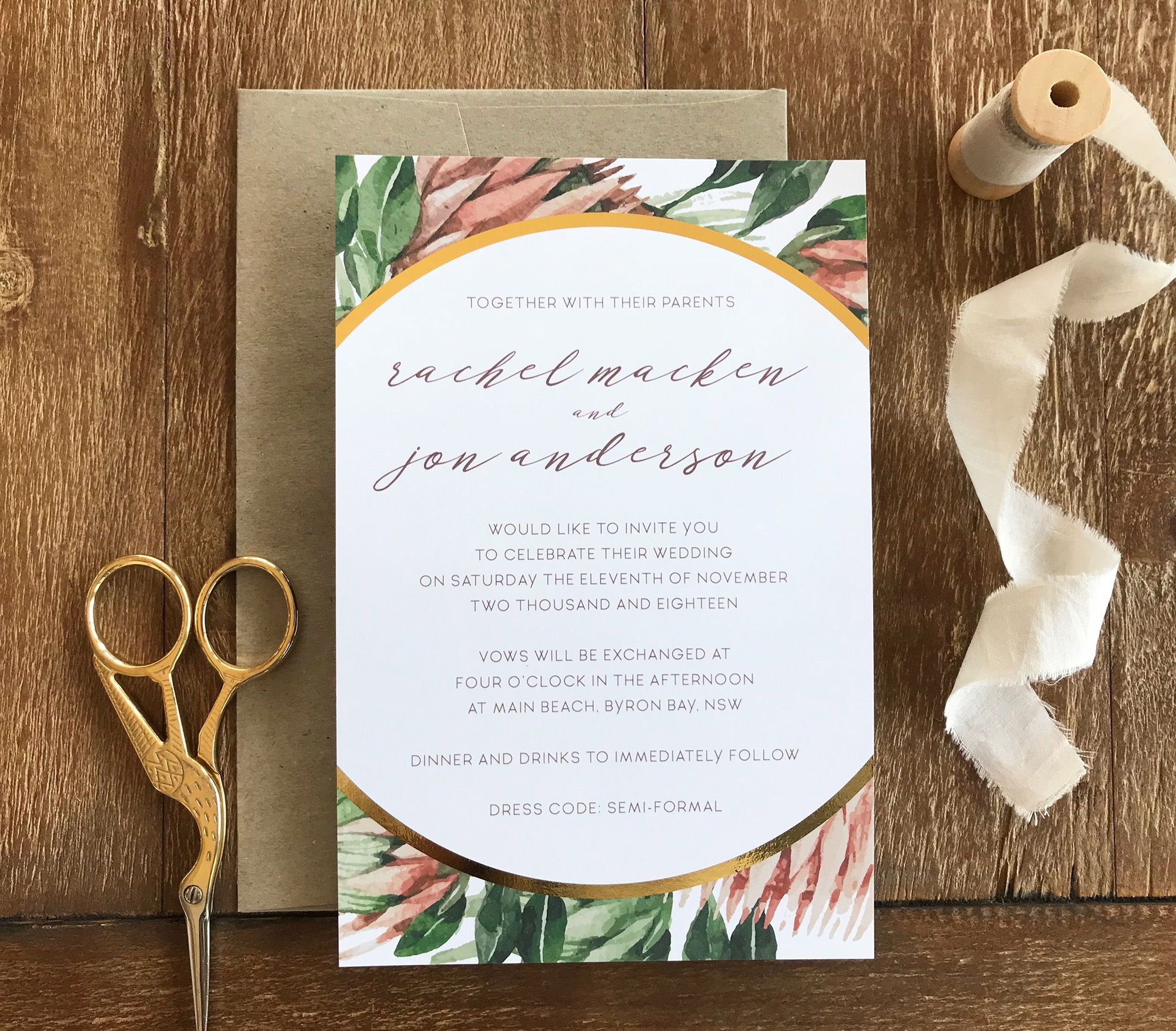 Our Protea Wedding Invitation Featuring Gold Foil And Paired With A Brown Kraft Wedding Invitations Australia Wedding Invitations Custom Wedding Invitations