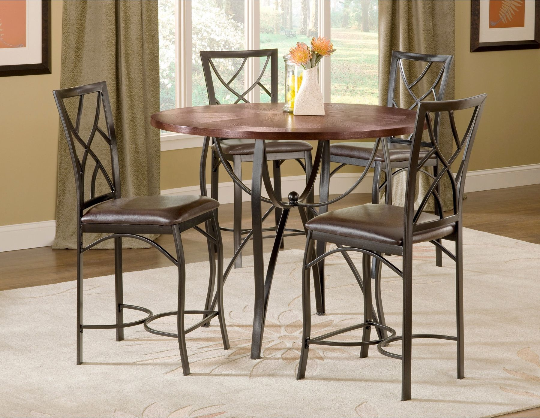 Sanford Merlot 5 Piece Counter Height Table And 4 Chairs Black Metal Round Dining