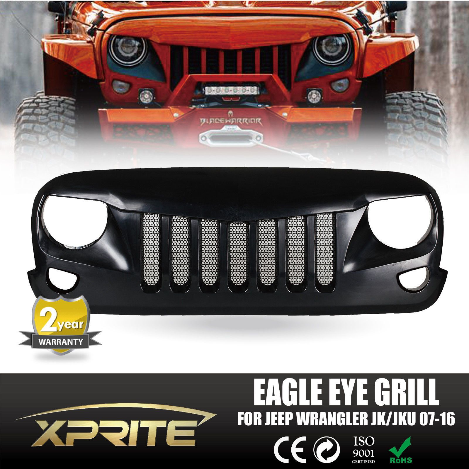 Front Black Eagle Eye Grill Grille With Mesh For 2007 2018 Jeep Wrangler Jk Jeep Wrangler Jeep Wrangler Jk Jeep Wrangler Grill