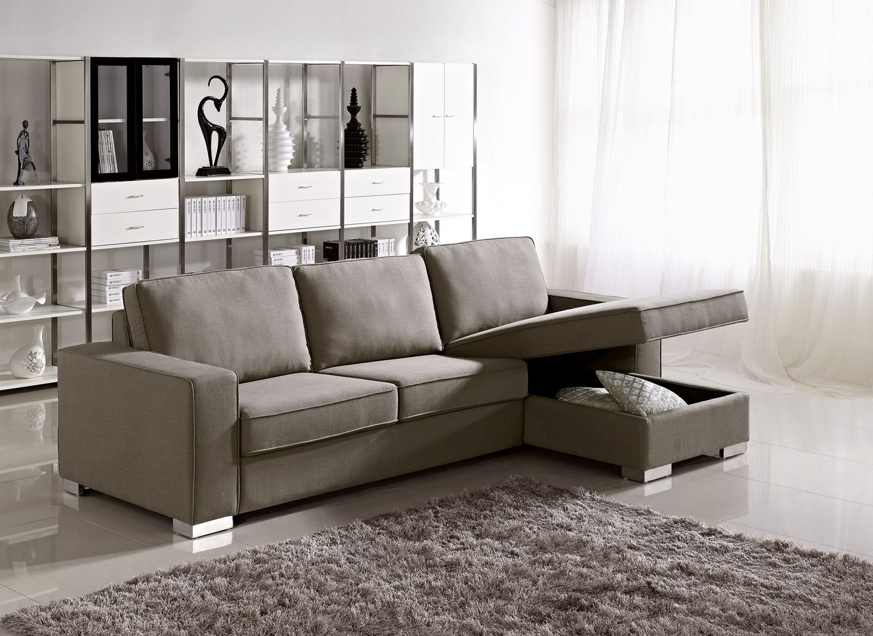 Apartment Size Grey Fabric Storage Sectional with Easy Pull Out