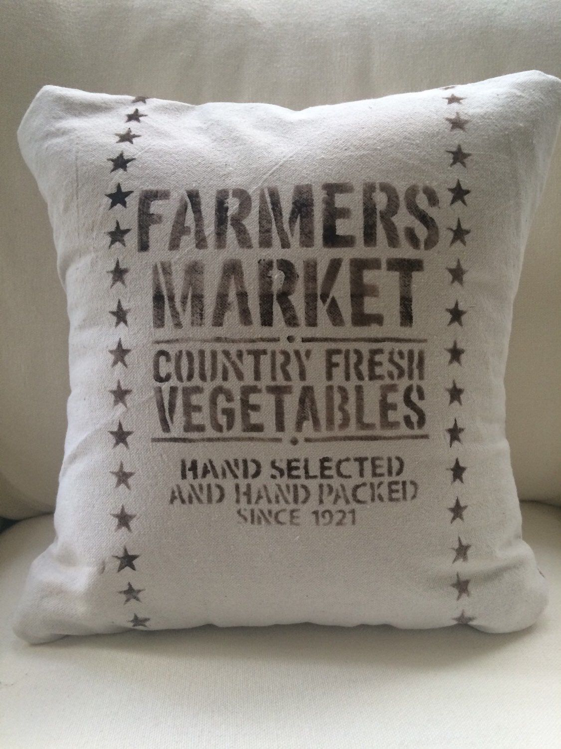 Farmers Market Throw Pillow Cover/Farmhouse /French Country/Rustic ...