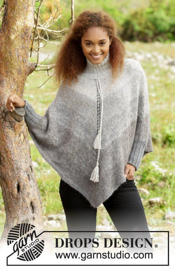 Knitted poncho with stripes turtle neck - Crochet and Knit ...