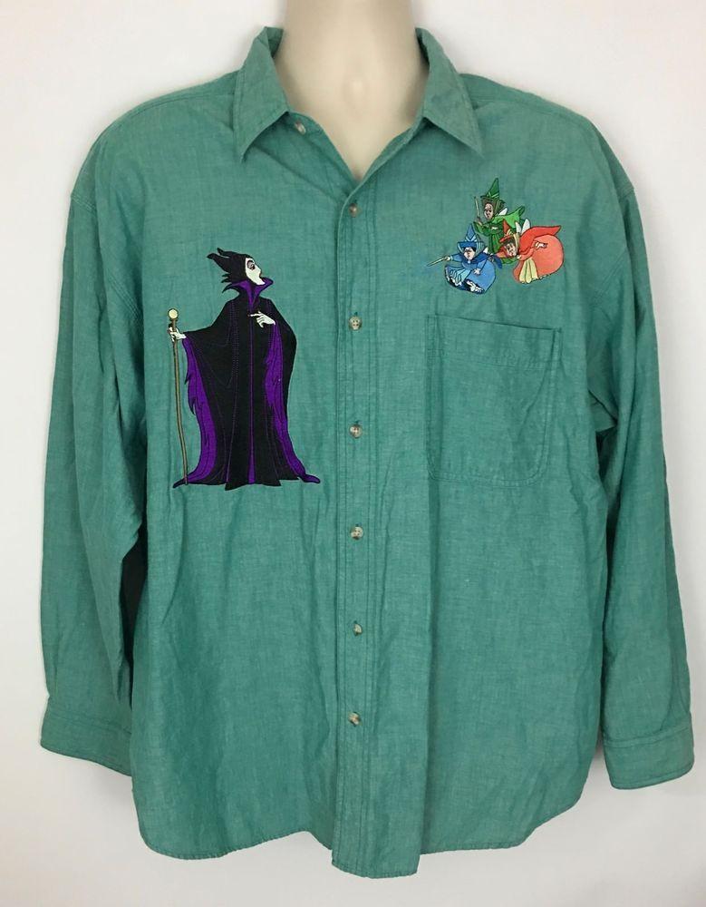 Men S Vintage Disney Store Maleficent Sleeping Beauty Button Front Shirt Size Xl Beauty Shirt Vintage Disney Vintage Men