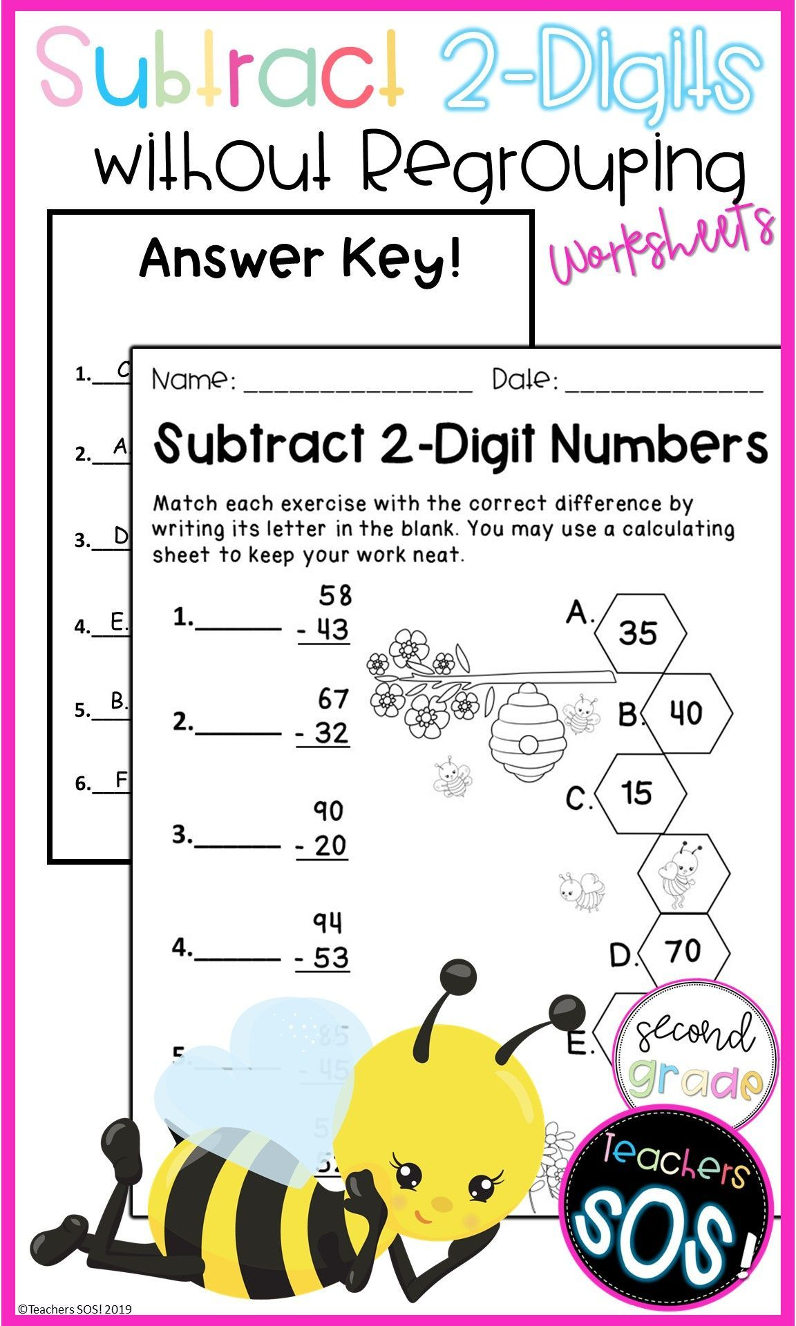 2 Digit Subtraction Worksheets Packet In