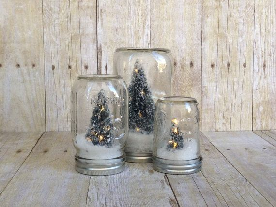 Home Living On Etsy Snow Globes Jars Snow Mason Jars