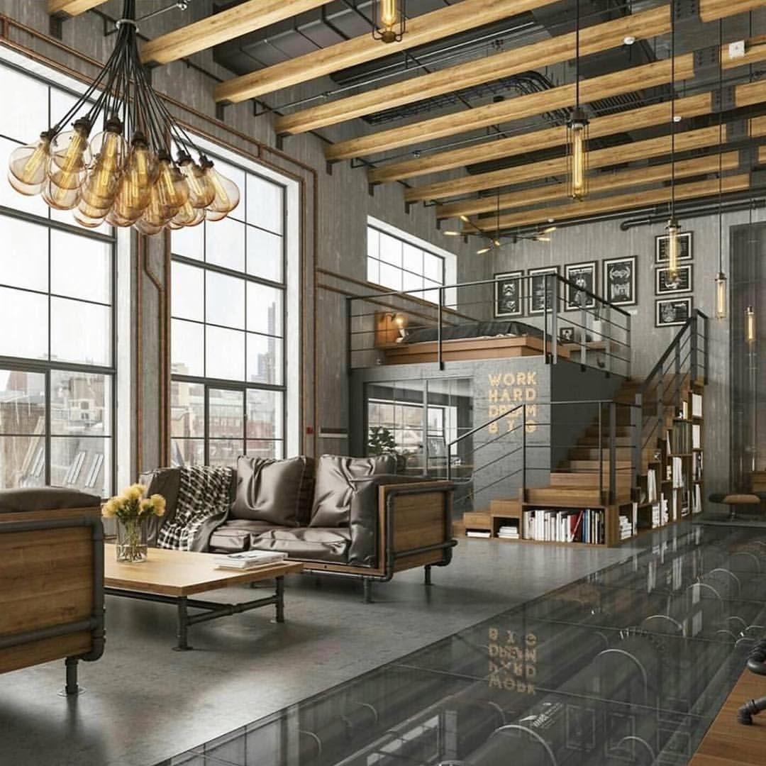 Myinterior On Instagram Follow My Friend Modern Architect Loft Nyc Photo By Romas N Loft Living Room Design Living Room Loft Industrial Style Living Room