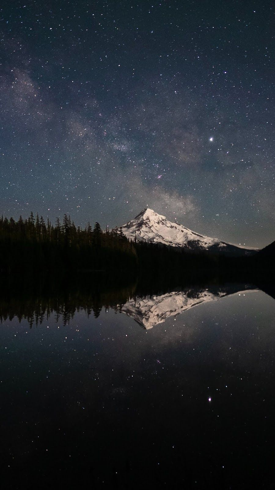 Snowy mountain in starry night Starry night wallpaper