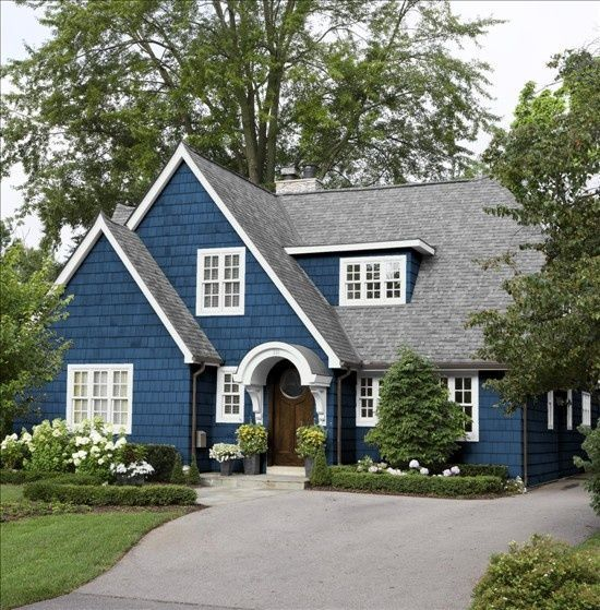 Home Color Ideas Exterior: Marine Blue House And Cream Trim And Black Windows