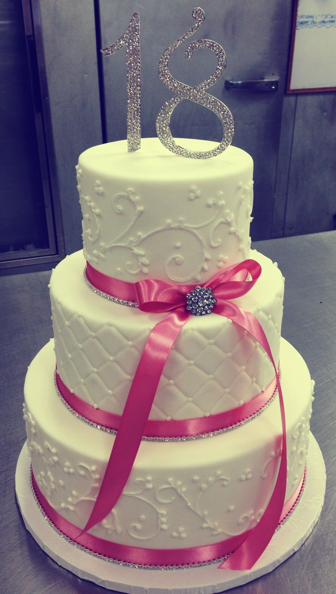 Pink and silver 18th birthday Specialty cakes, Cake