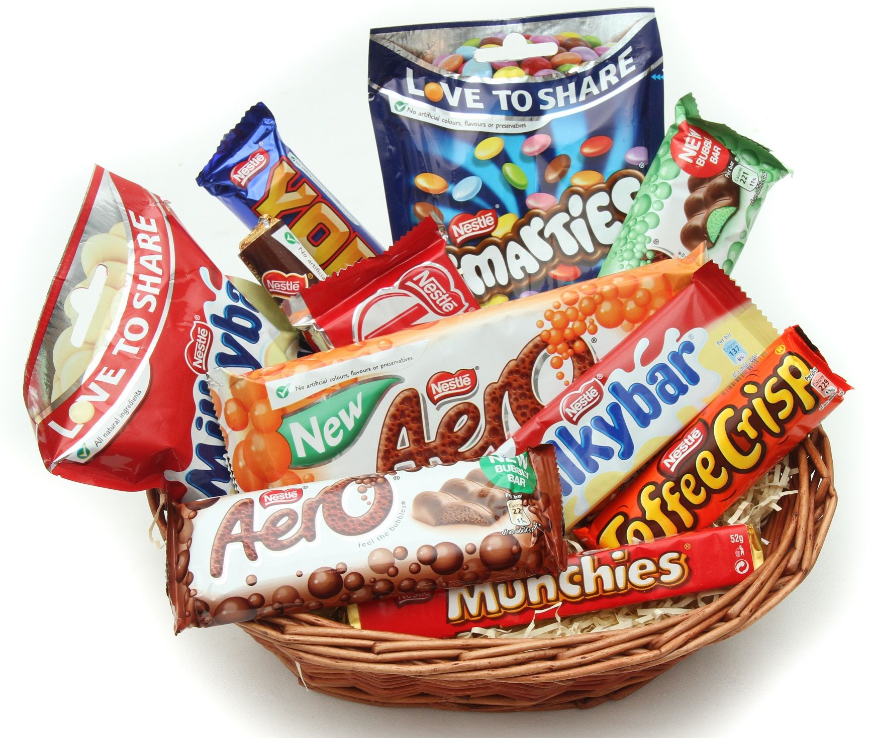 The Nestle Joy chocolate basket contains a range of yummy sweets ...