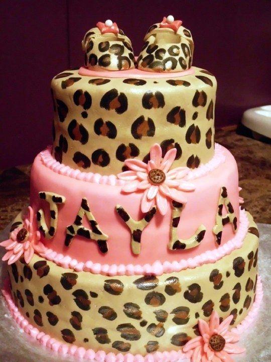 Leopard Print  baby shower cake @Ashley Baker Whitehouse