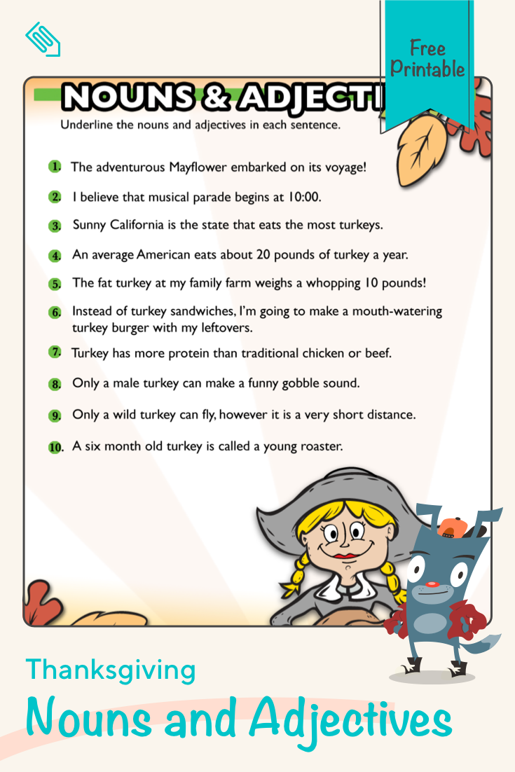 Thanksgiving Nouns and Adjectives #5   Worksheet   Education.com   Nouns  and adjectives [ 1102 x 735 Pixel ]