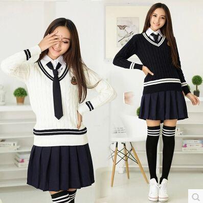 7a077b2b341f5 Barato Inverno de manga comprida meninas estilo britânico uniforme escolar  japonês