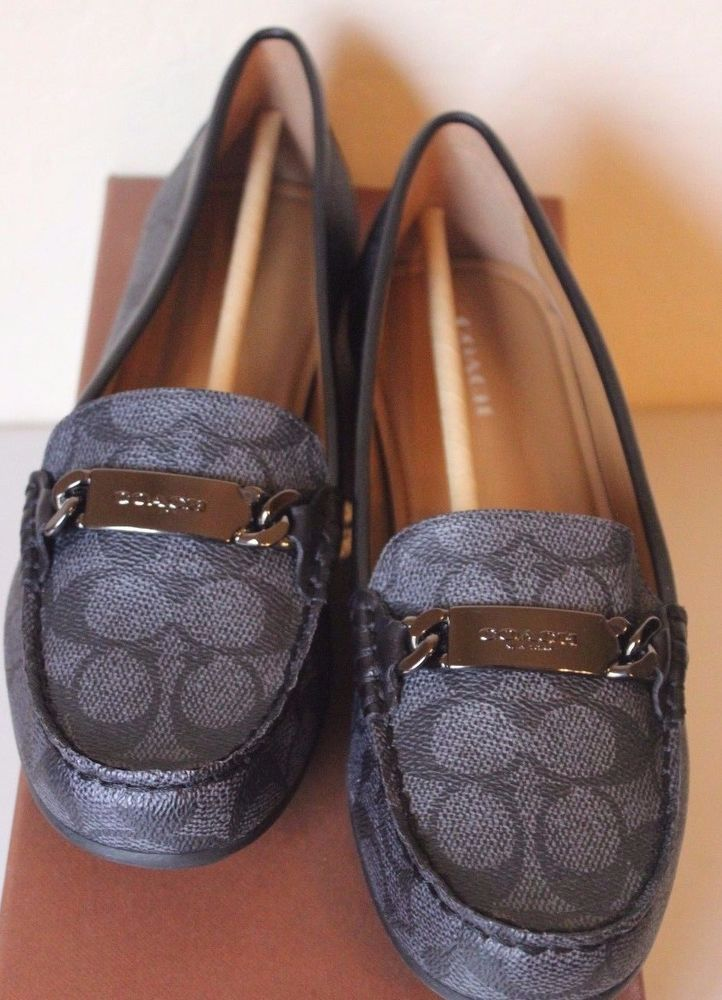 7634801804a COACH Olive Signature Loafer Flats Women s Size 8.5 - Black Smoke - NEW   Coach  LoafersMoccasins