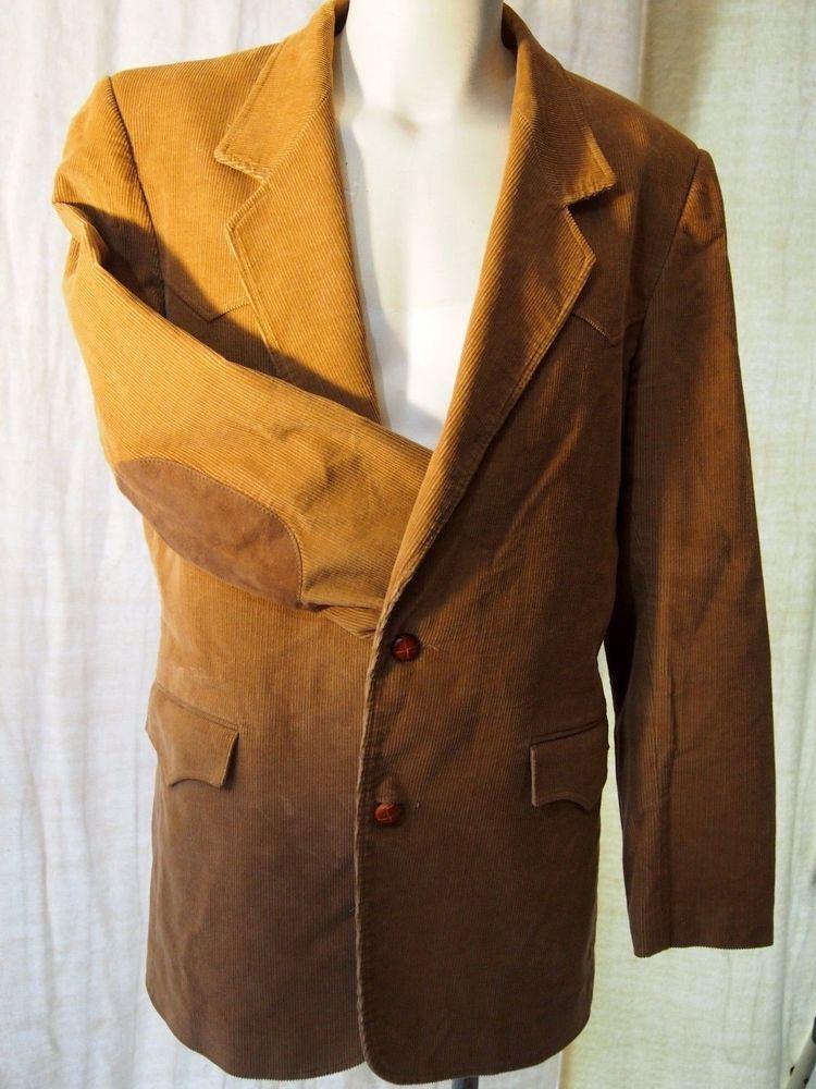 Mens vintage pioneer wear western blazer jacket corduroy