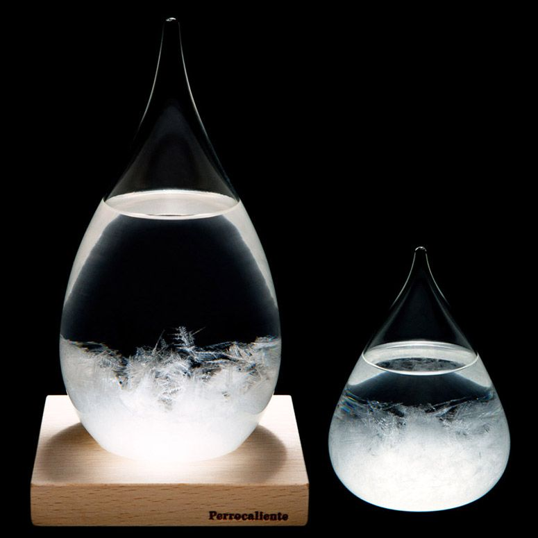 Tempo Drop Sculptural Weather Forecasting Storm Glass Glass