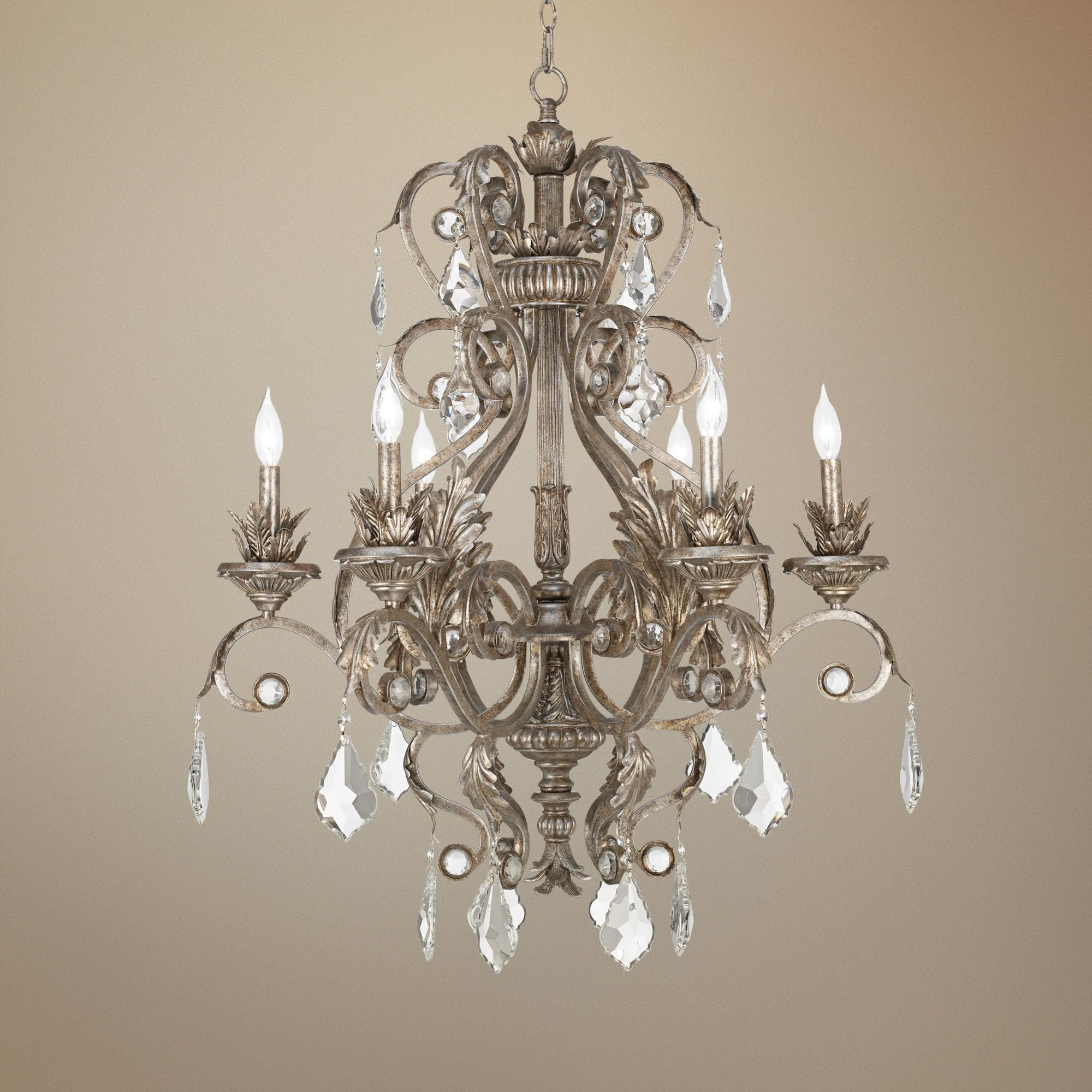 "Lights Plus Decor: Kathy Ireland 30"" Wide Metallic Silver Chandelier"