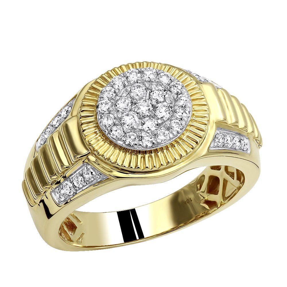 10k Gold Men S Cluster Diamond Jubilee Ring 0 75ct Mens Diamond Wedding Bands Mens Pinky Ring Men Diamond Ring