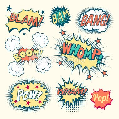 Collection Of Vintage Comic Book Speech Bubbles And Sound Effects Pop Art Comic Comic Books Illustration Comic Text