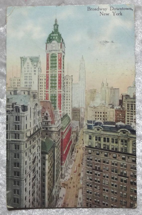 1917 Broadway Downtown NY City Postcard, Singer Building