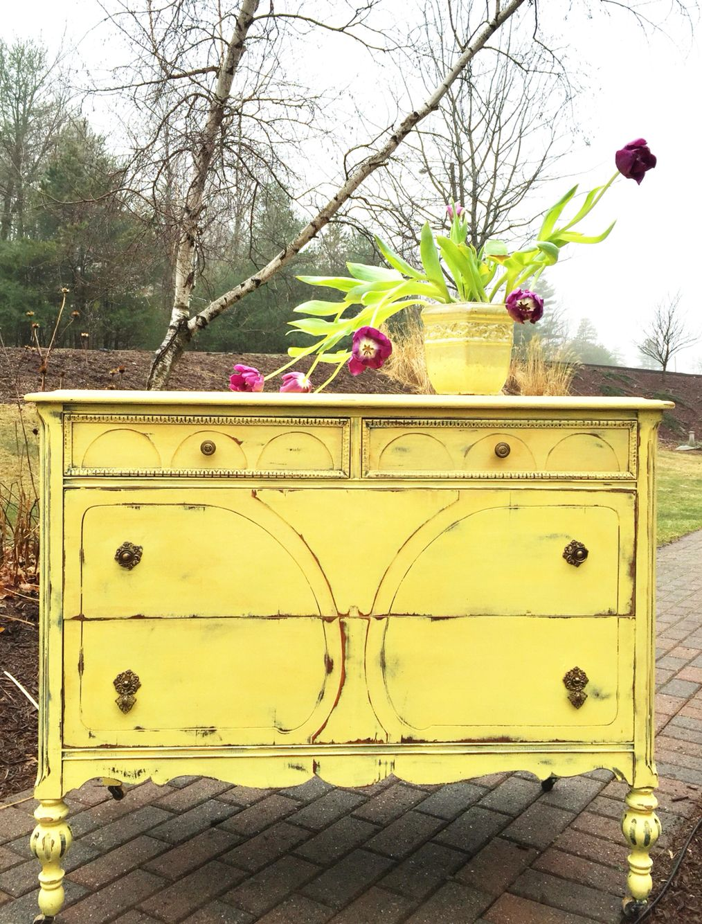 Painted With Waverly Chalkpaint In Maize Muebles De Madera De Madera Madera