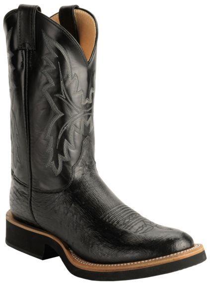efca94ef236 Justin Black Smooth Ostrich Tek Crepe Cowboy Boots - Round Toe ...