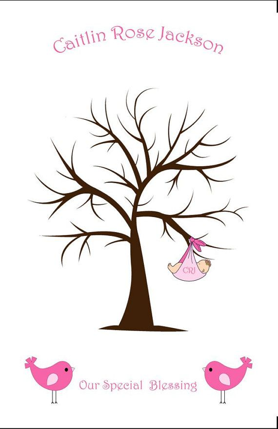 tree fingerprint tree with baby girl and birds 11x17 for baby shower