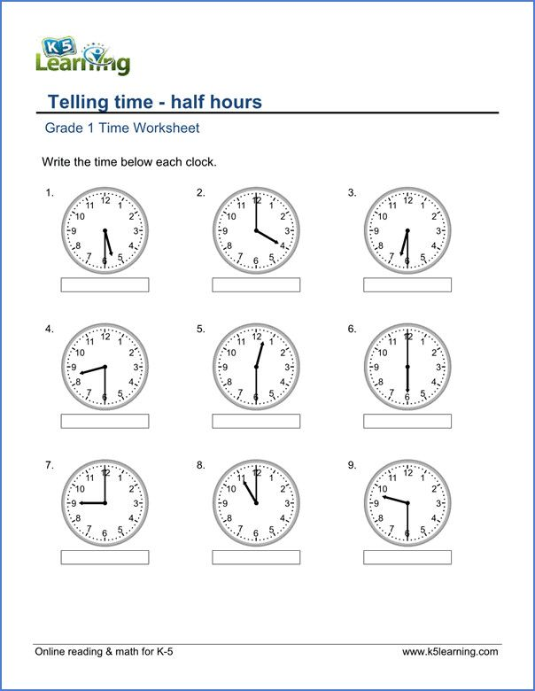 1st Grade Telling Time Worksheets free & printable Time