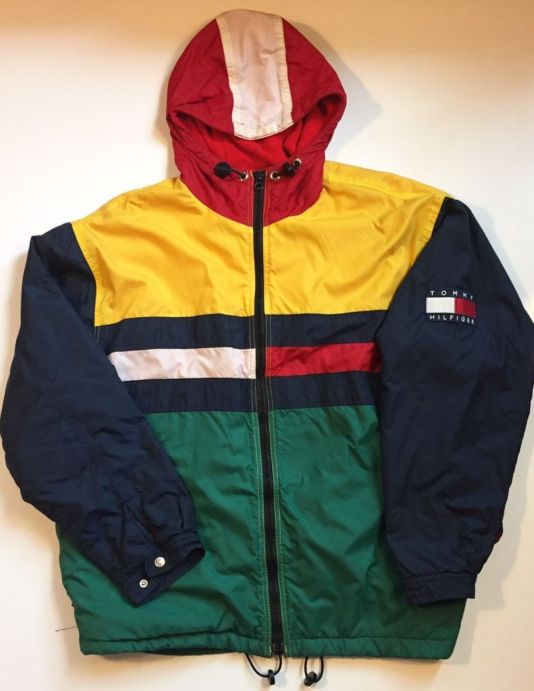 1a40f7d196 Size Large Rare Vintage Tommy Hilfiger Big Flag Jacket Color Block Gear # TommyHilfiger