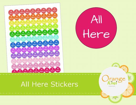 All Here Stickers Teacher Attendance By Orangekiwidesign