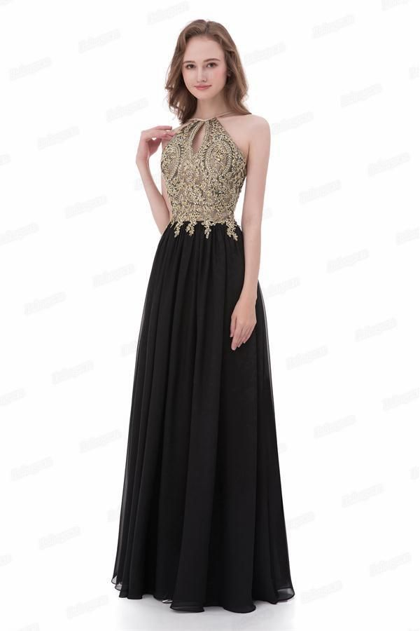 Gold And Black Long A Line Lace Chiffon Open Back Modest Prom