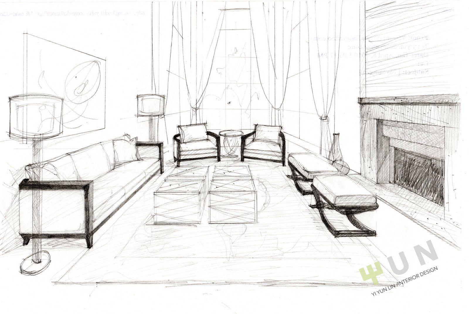 Interior Design Living Room Drawings Interior Design Renderings