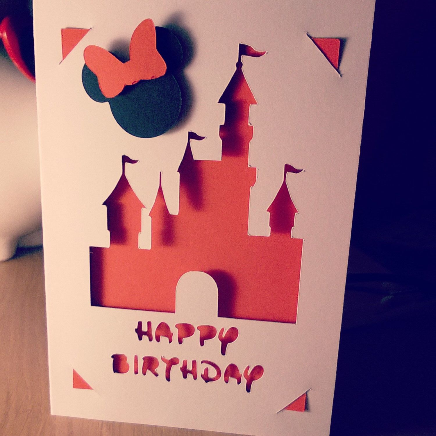 Minnie Mouse and Disneyland Castle in red cut out Happy Birthday