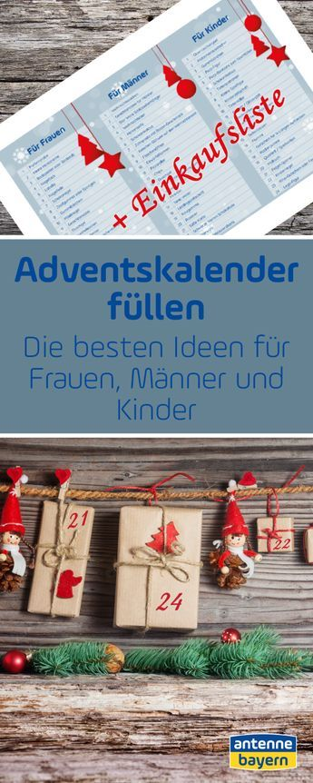 Adventskalender selber befüllen: Die Einkaufsliste für Kids, Frauen & Männer