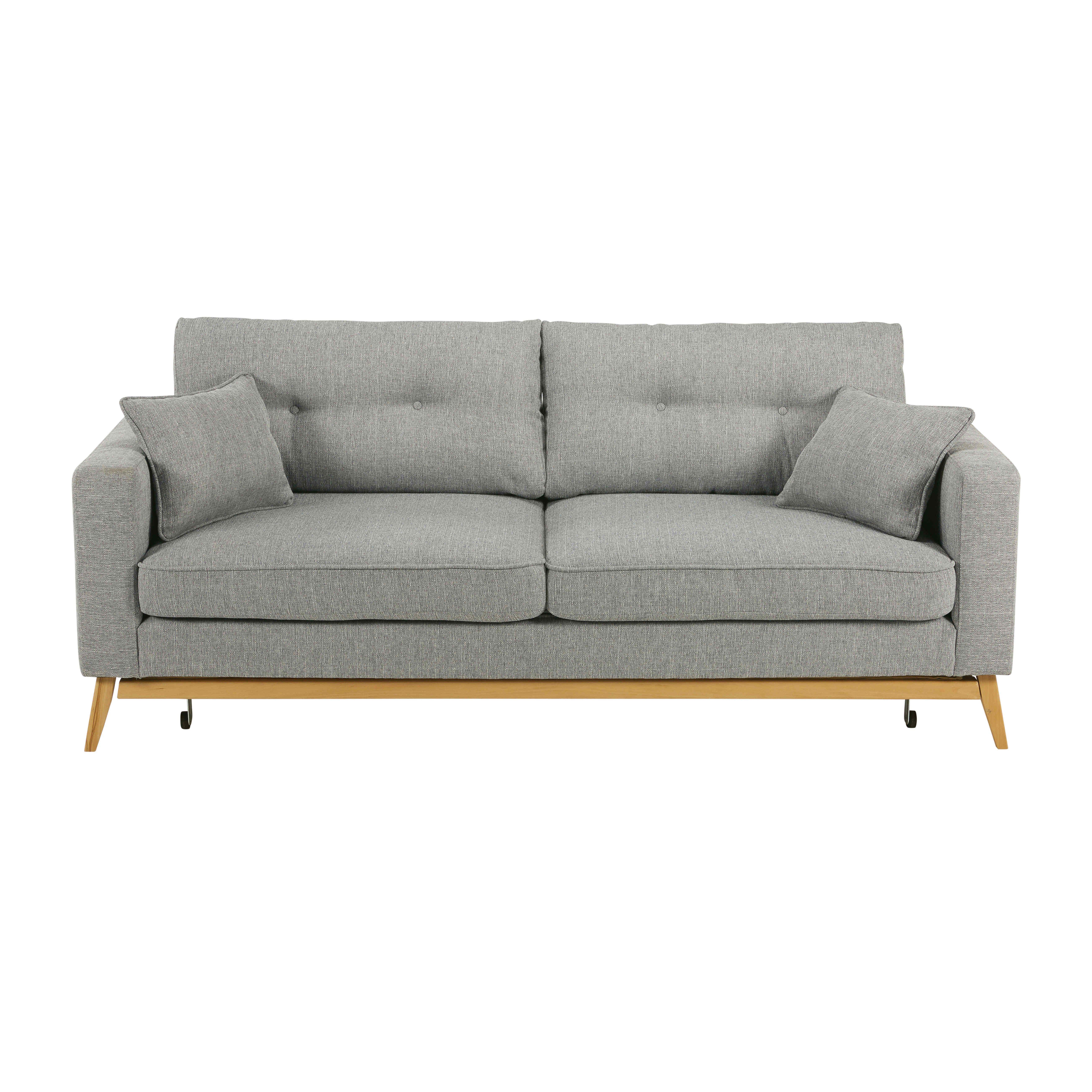 Canape Lit Style Scandinave 3 Places Gris Clair Maisons Du Monde Light Gray Sofas Scandinavian Sofas Scandinavian Sofa Design