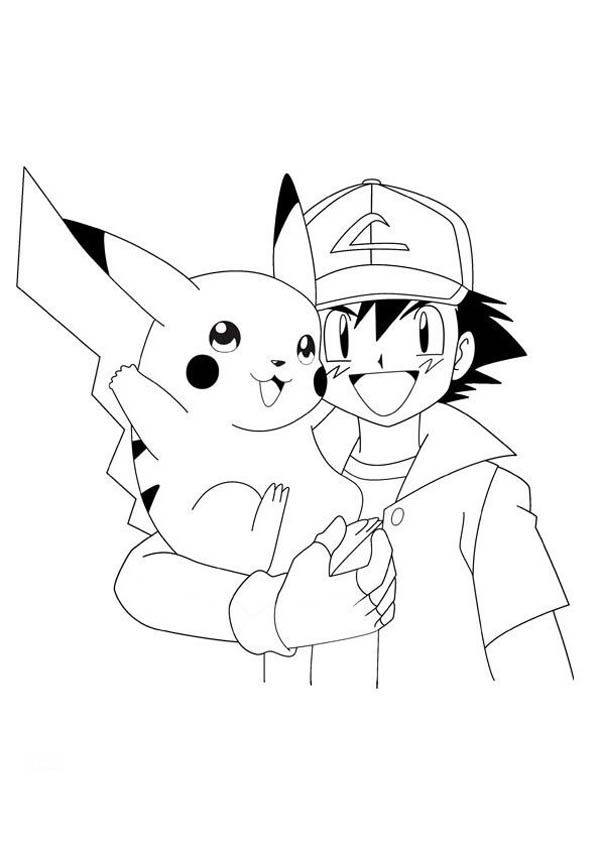 Pokemon pikachu with ash coloring pages enjoy coloring