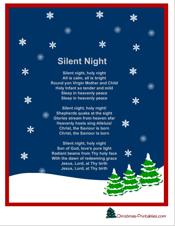photo relating to Silent Night Lyrics Printable named absolutely free printable quiet evening xmas carol lyrics Absolutely free
