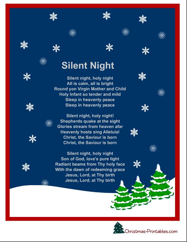 free printable silent night christmas carol lyrics | Free ...
