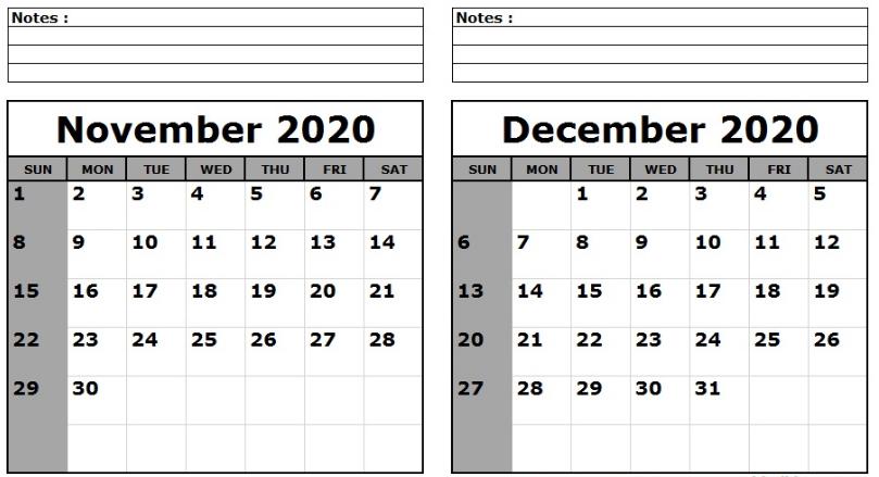 November December 2020 Calendar Printable Templates