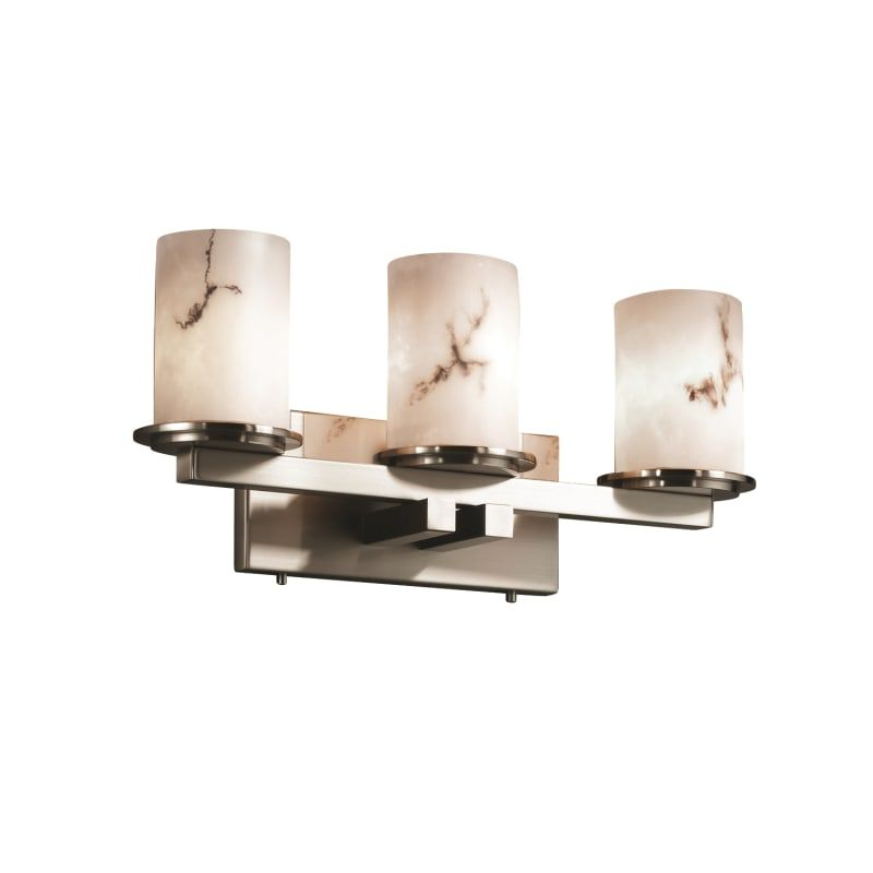 Photo of Justice Design Group FAL-8773-10-NCKL Brushed Nickel Dakota 3 Light Straight Bar Bathroom Fixture from the LumenAria Collection