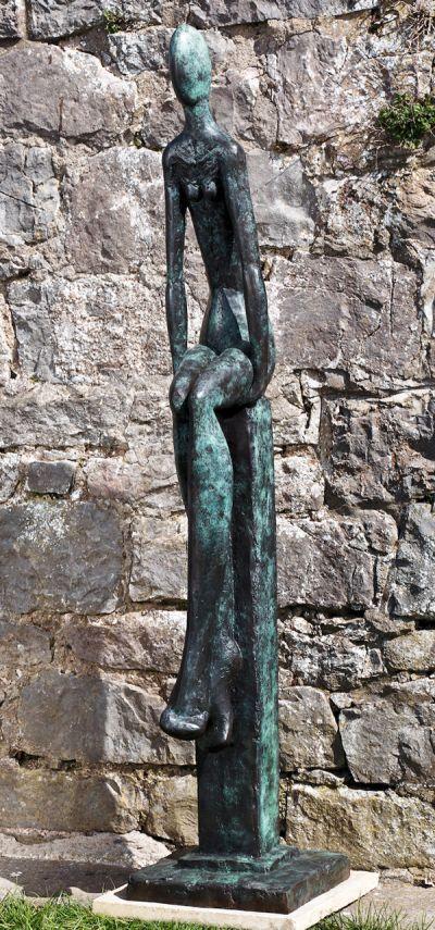 Bronze Abstract Loop /statue/ statuette #sculpture by #sculptor Helen Sinclair titled: 'Just Sitting (bronze abstract Contemporary Girl/Female statue sculpture)' #art