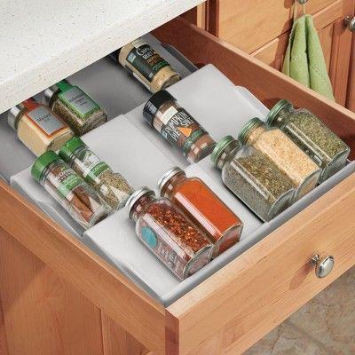 mDesign Expandable Plastic Spice Rack Drawer Insert, 3 Slant…
