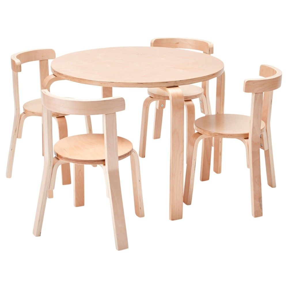 Ecr4kids Bentwood Curved Back Chair And Table Furniture Set Premium Kids Set For Homes Daycares And Classrooms Natural Color In 2020 Round Table And Chairs Table And Chair Sets Table Furniture