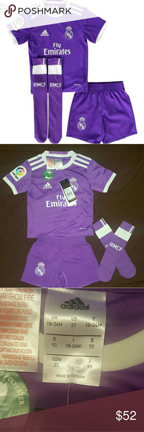 terremoto escaldadura rojo  3 piece adidas short set replica minikit NEW WITH TAGS!! , official Real  Madrid Away Mini Kit for the 2016 2017 L… | Adidas matching set, Clothes  design, Short sets